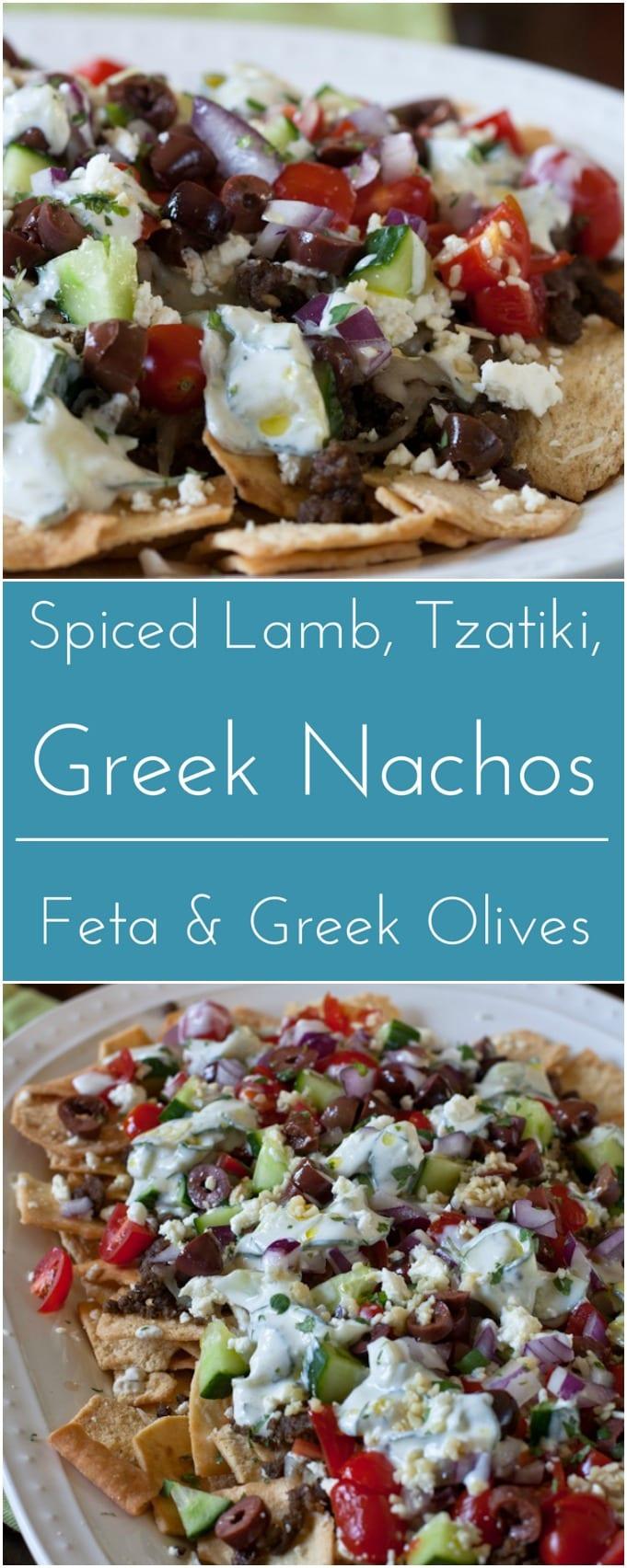 Loaded Greek nachos with Spiced Lamb, tzatziki, feta and Greek olives.