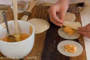 Pumpkin Ravioli using won ton skins