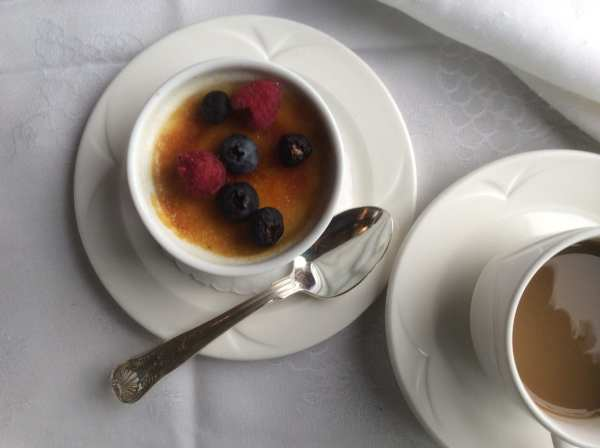 Creme Brûlée with fresh berries.