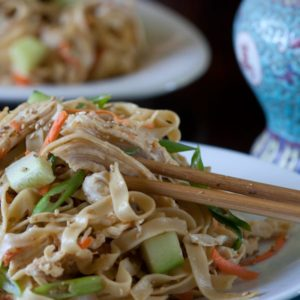 Sesame Noodles with Chicken and Vegetables.