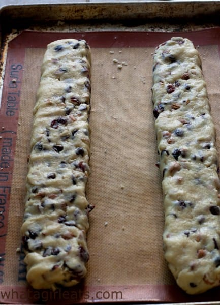 """Form the dough into two long longs, about 2"""" wide, by 1"""" tall. These are around 14"""" long."""