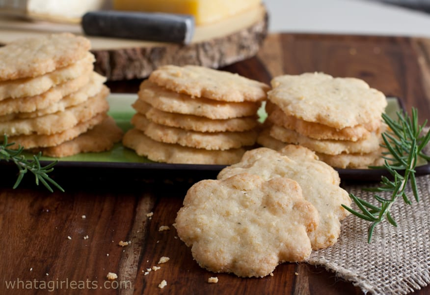 A cheesy, crumbly biscuit. These savory cheddar and rosemary shortbread make a nice addition to a cocktail party.