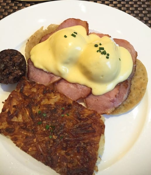 Eggs Benedict and hash browns. Perfectly delicious!