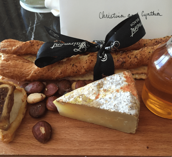 """Artisan cheese, crackers, bread sticks and the Fairmont's own """"house"""" honey!."""