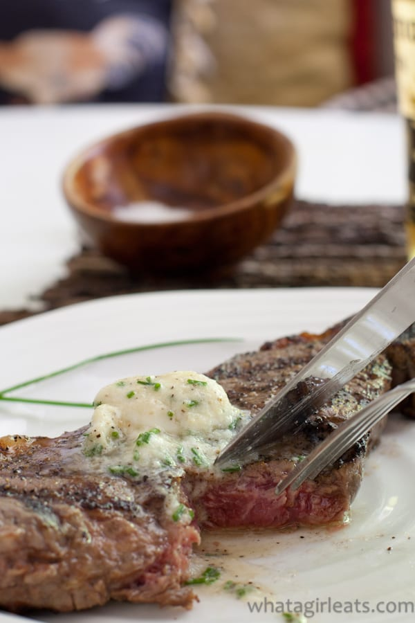 Grilled Steak with Shallot Horseradish Chive Compound Butter.