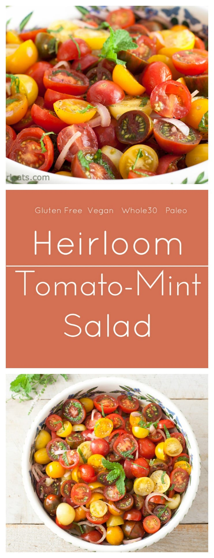 Heirloom Tomato Mint Salad.Whole30 compliant, gluten free and paleo.