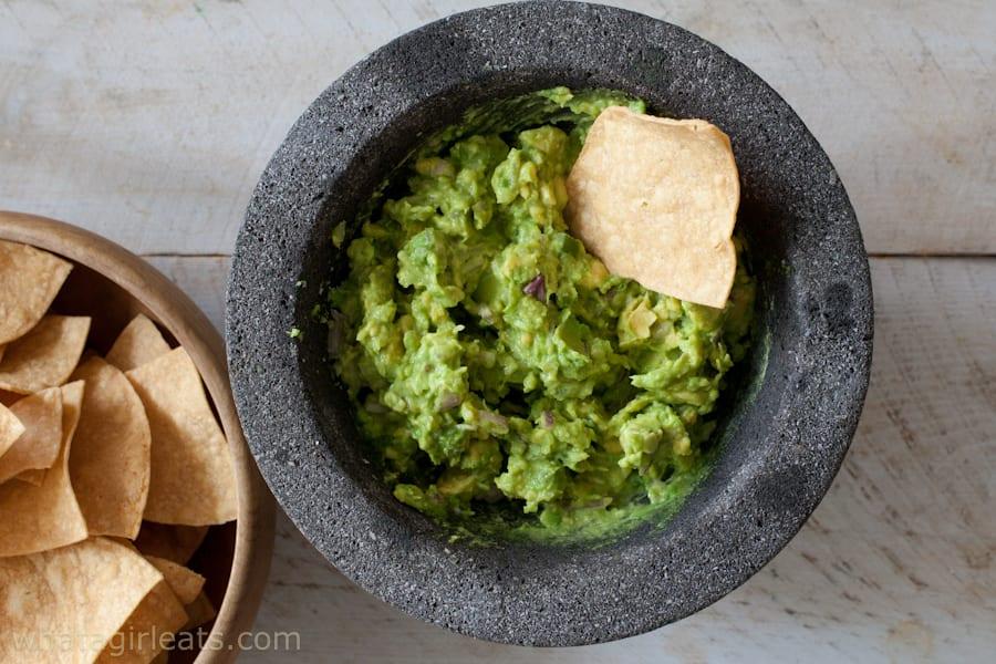 Molcajete with avocado