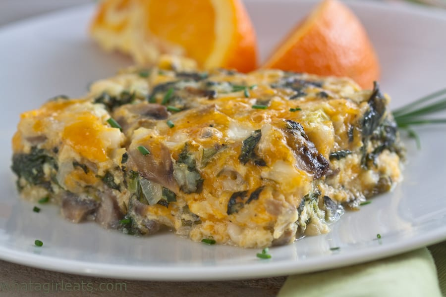 low carb spinach and mushroom breakfast casserole