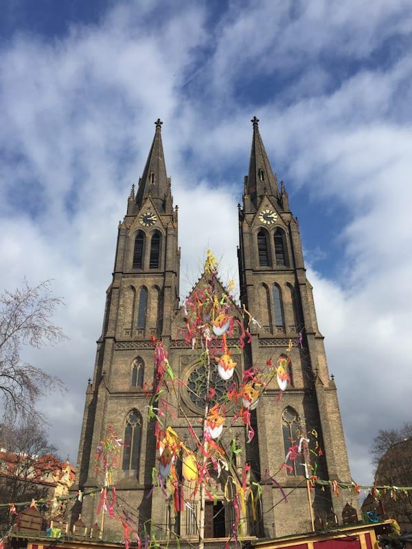 New Town Church on Easter Sunday. Prague.
