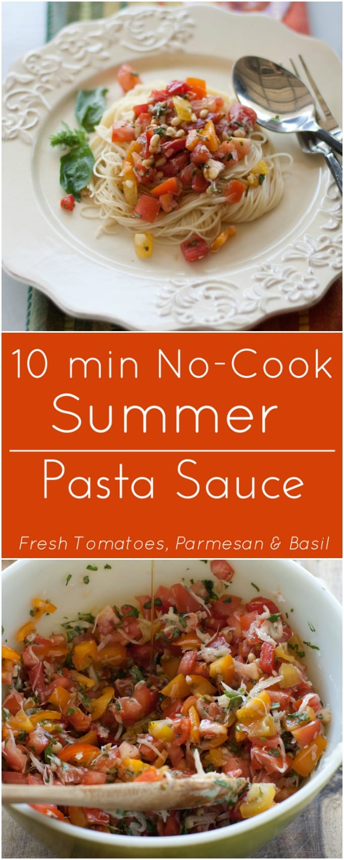 Fresh tomatoes, basil and parmesan cheese make a quick, no-cook tomato sauce to go over pasta or