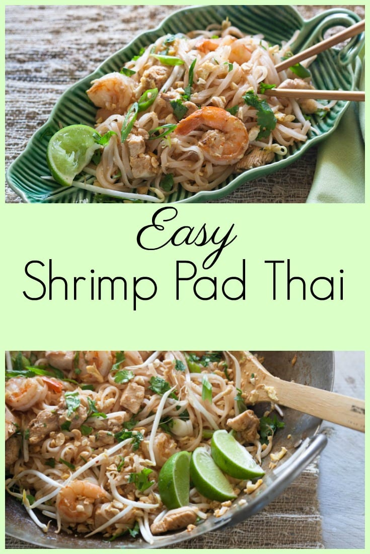 Easy shrimp pad thai with chicken. #padthai #asianfood #ricenoodles #glutenfreeasian
