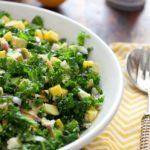 Kale Salad with mango and feta