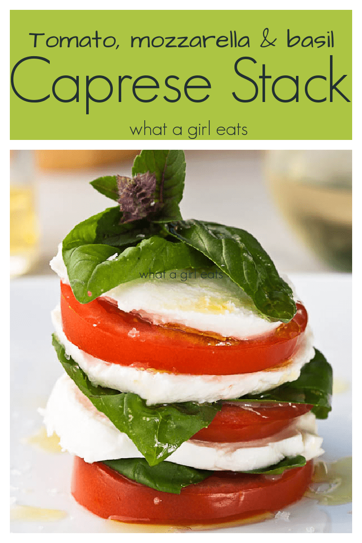 Fresh tomato, mozzarella and basil are the simple ingredients in the Caprese salad. Drizzle with extra virgin olive oil.