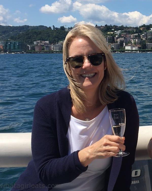 Enjoying prosecco on Lake Lugano. Cruise and Cook