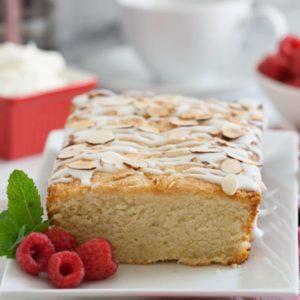 almond pound cake with raspberries