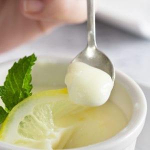 lemon posset on spoon