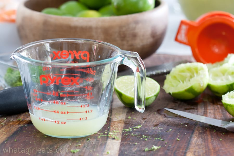 lime juice in a measuring cup