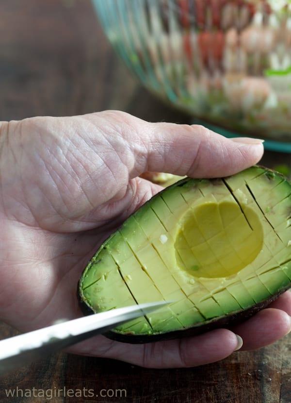 dicing an avocado