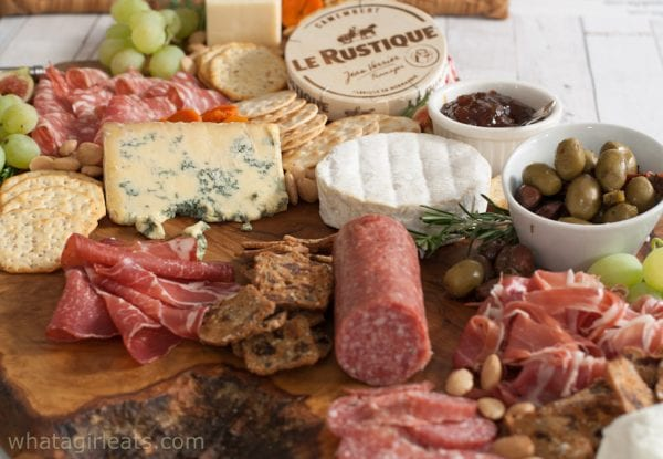 close up of cheese and meat board