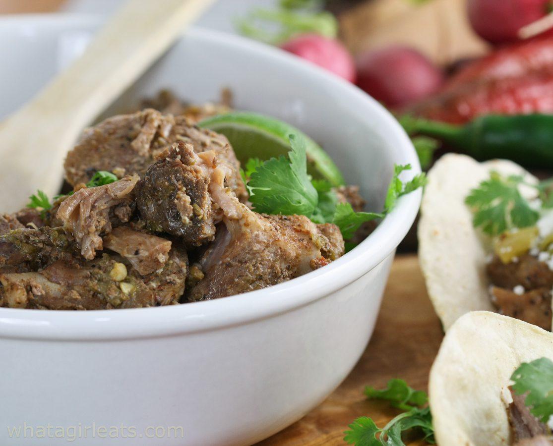 chile verde pork in bowl