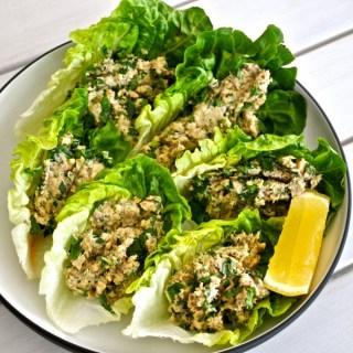 salmon avocado and kale lettuce tacos