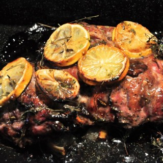 roasted butterflied leg lamb with fig glaze