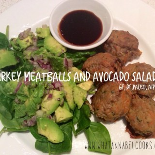 turkey meatballs and avocado salad