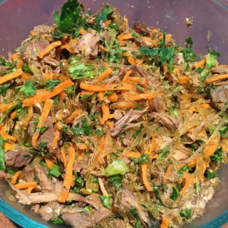 shredded asian pork kelp noodle salad (paleo)