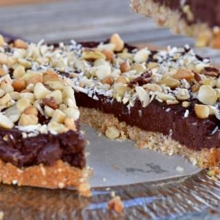 Chocolate mousse tart with macadamia crust