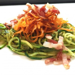 Bacon zoodles & crispy sweet potato