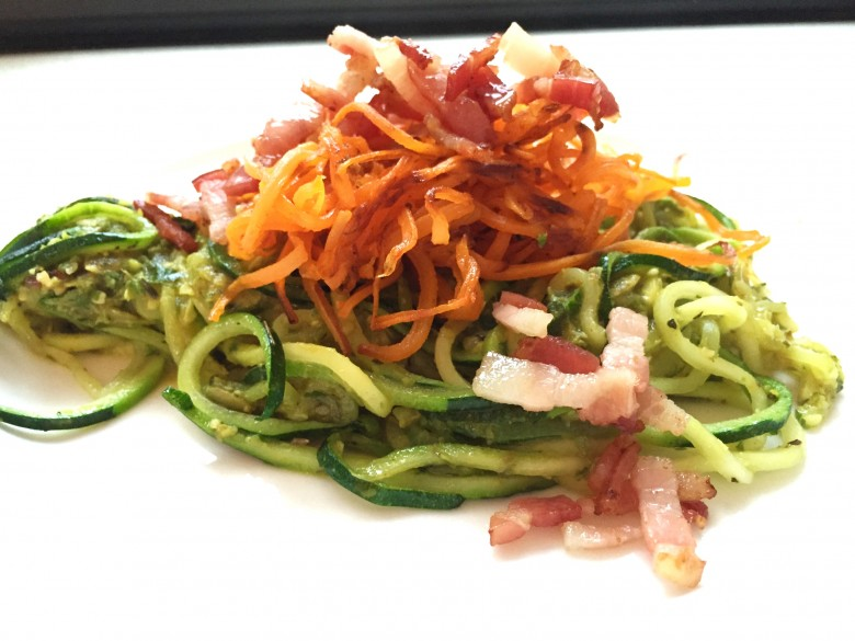 bacon zoodles crispy sweet potato