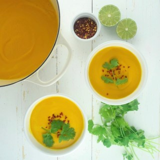 Carrot, Sweet Potato, + Ginger Soup
