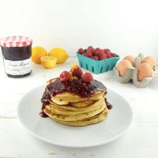 Greek Yogurt + Meyer Lemon Pancakes with Raspberry Compote