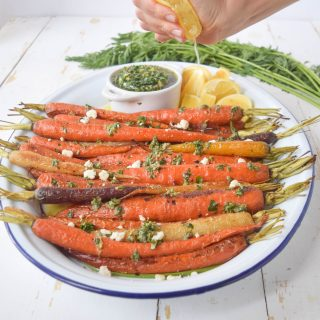 Roasted Carrots + Herby Carrot Top Salsa Verde