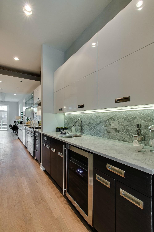 White Quartz Kitchen Backsplash