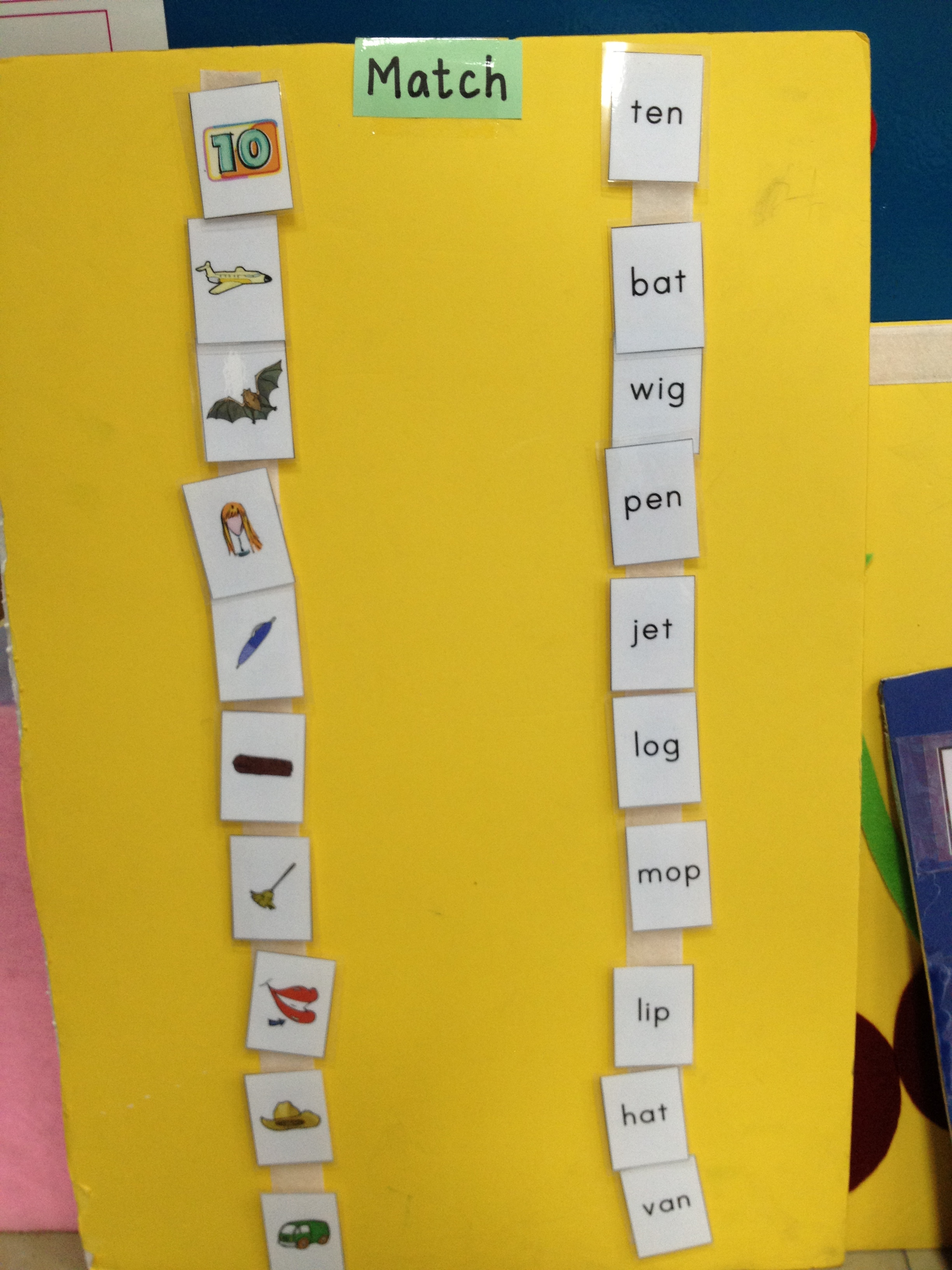 Cvc Picture To Word Matching Activity