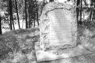 This monument was erected in 1935 by Spokane residents at the location where the warrior Qualchan/Qualchew and six other Indian warriors were hanged by the U.S. Cavalry in 1858. Today it is a tourist attraction for history buffs, which I count myself among.