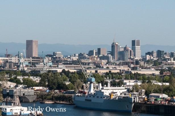 Swan Island and Downtown Portland Photo