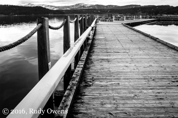 I captured this shot of the boardwalk on a warm winter's day at Coeur d'Alene Lake, in Coeur d'Alene, Idaho.