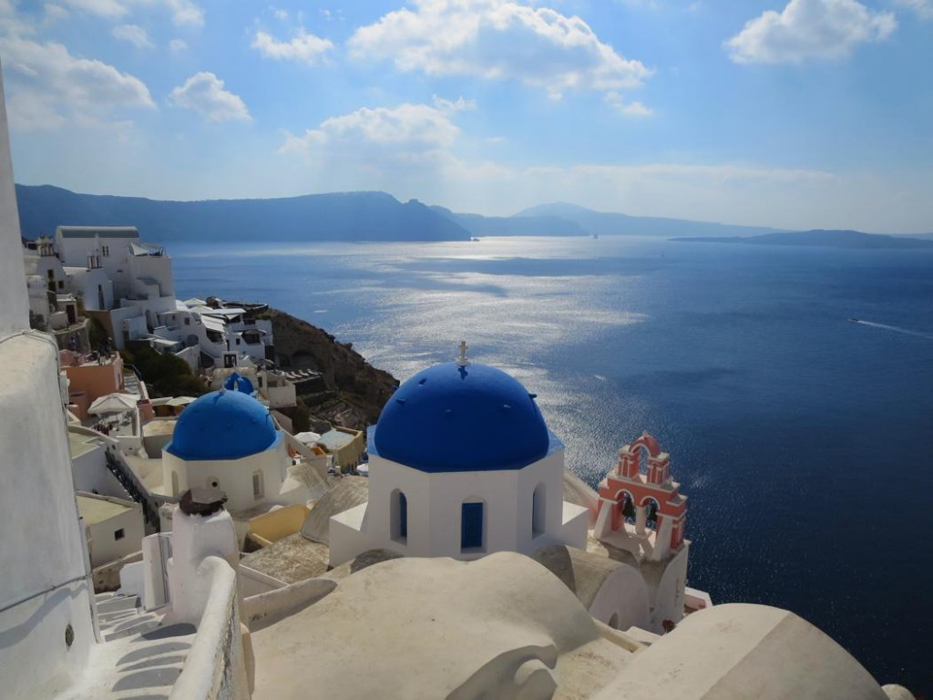 Finding the blue domed church in Santorini. Greece