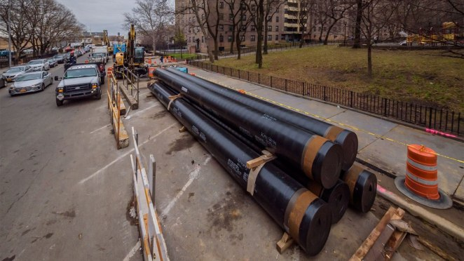 Pipelines stored on the side of the street in Brooklyn