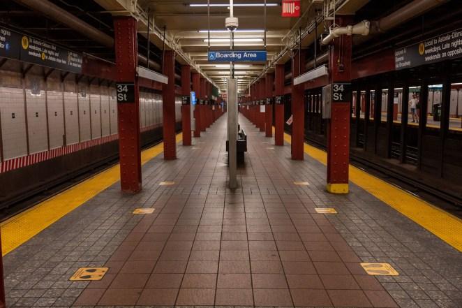 photo of empty new york subway station post-coronavirus