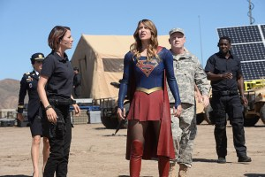 """Red Faced"" -- Personal and professional stress get the better of Kara when she goes too far during a training exercise against Red Tornado, a military cyborg commissioned by Lucy Lane's father, General Sam Lane, on SUPERGIRL, Monday, Nov. 30 (8:00-9:00 PM, ET) on the CBS Television Network. Pictured left to right: Jenna Dewan-Tatum, Chyler Leigh, Melissa Benoist, Glenn Morshower and David Harewood Photo: Darren Michaels/CBS ©2015 CBS Broadcasting, Inc. All Rights Reserved"