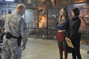 """Blood Bonds"" -- With Astra in captivity at the DEO, her husband, Non (Chris Vance), captures Hank, leading to a tense standoff between the two sides. Also, Kara continues to refute Cat's allegations that she is Supergirl, on SUPERGIRL, Monday, Jan. 4 (8:00-9:00 PM) on the CBS Television Network. Pictured left to right: Glenn Morshower, Melissa Benoist and Chyler Leigh Photo: Darren Michaels/Warner Bros. Entertainment Inc. © 2015 WBEI. All rights reserved"