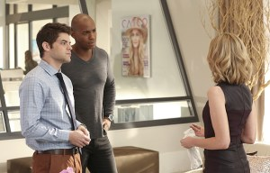 """Falling"" -- Cat appears on THE TALK to discuss Supergirl, on SUPERGIRL, Monday, March 14 (8:00-9:00 PM, ET/PT) on the CBS Television Network. Pictured left to right: Jeremy Jordan, Mehcad Brooks and Calista Flockhart Photo: Michael Yarish/CBS ©2016 CBS Broadcasting, Inc. All Rights Reserved"