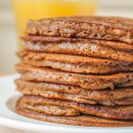 Gingerbread Pancakes made without molasses. Fluffy and soft, perfect drizzled with warm lemon sauce.