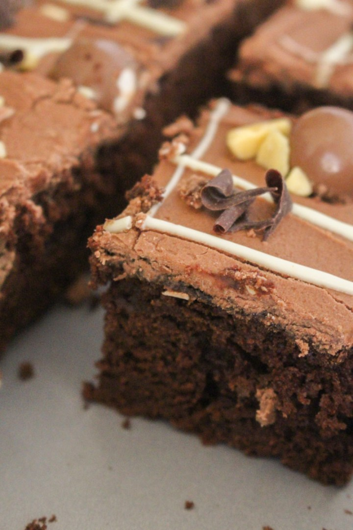 Chocolate Sheet Cake - covered with chocolate buttercream frosting and chocolate candies, this soft and moist cake is perfect for when you need to feed a bunch of people, fast!