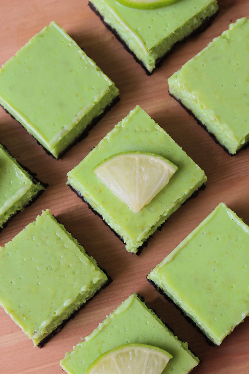 Chocolate Lime Bars - with an Oreo crust and an easy to make tangy lime topping   What Charlotte Baked
