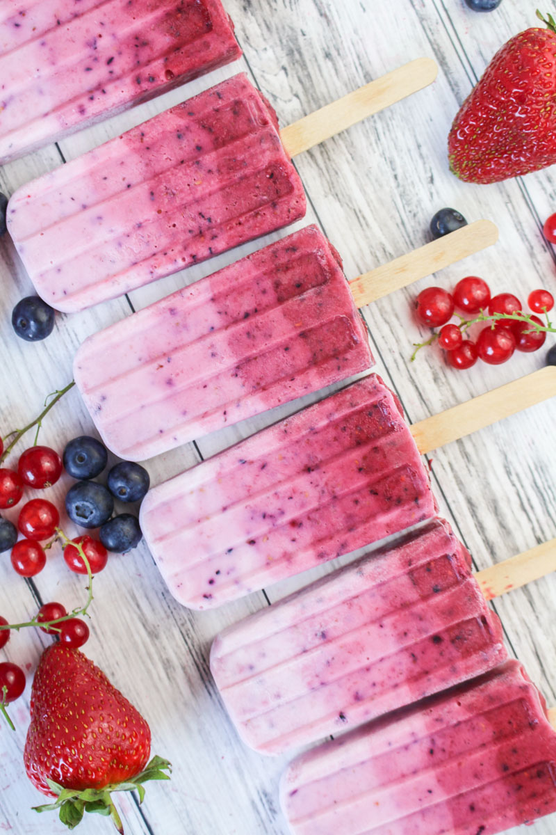 Ombré Summer Berry Ice Pops Recipe | What Charlotte Baked
