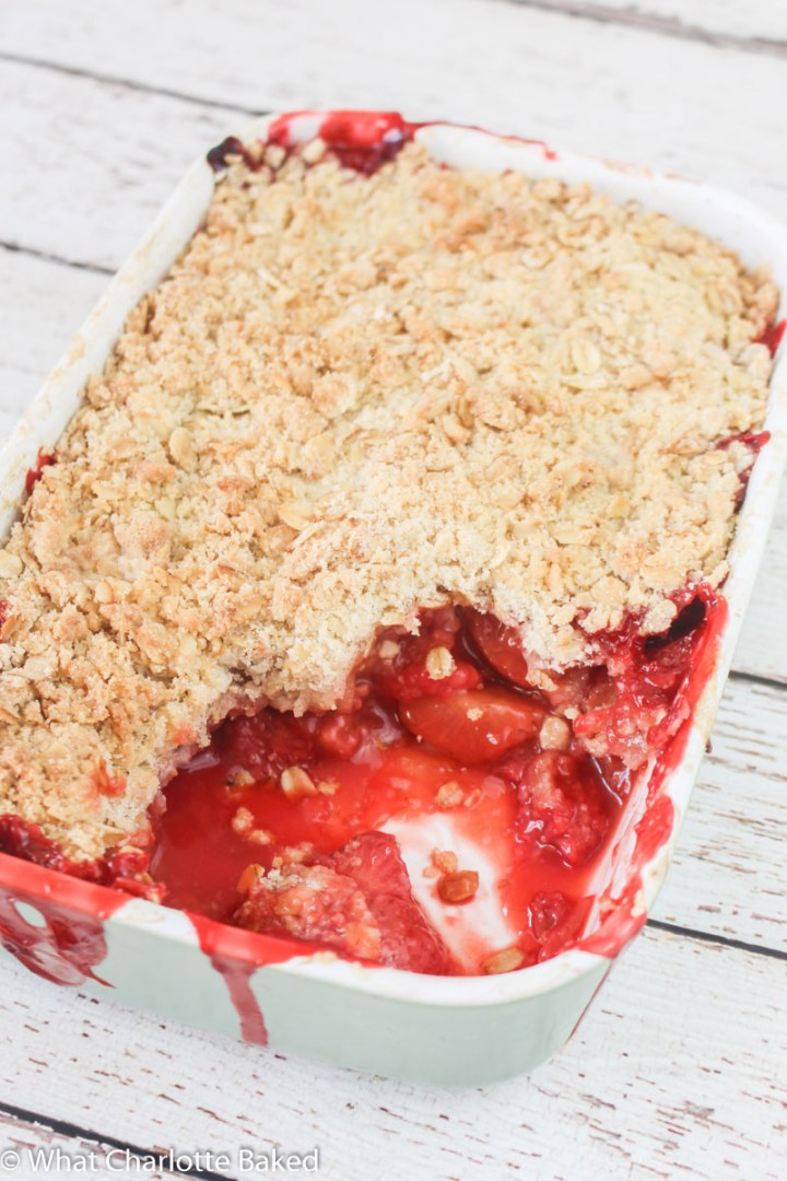 Pimm's Crumble recipe, with fresh raspberries and strawberries | What Charlotte Baked